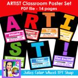 ARTIST Poster Set, art classroom rules