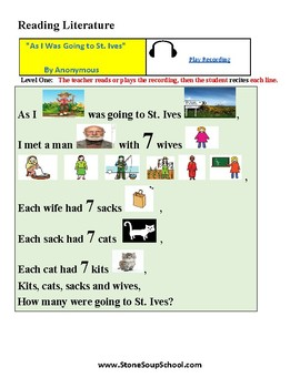 K - 2  Autism Spectrum -  Poetry - As I Was Going to St Ives