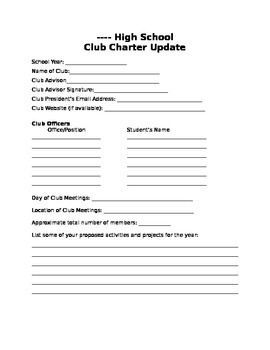 ASB - Club Charter Update Form (Editable)
