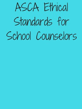 ASCA American School Counselors Association Ethical Standards