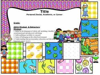 ASCA Lesson Plan Templates: Valentine's, Easter, St. Patrick's, Spring