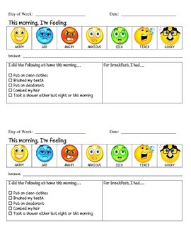ASD - Autism - Morning Routine Communication Sheet