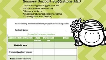 ASD Sensory accommodations/supports tracker