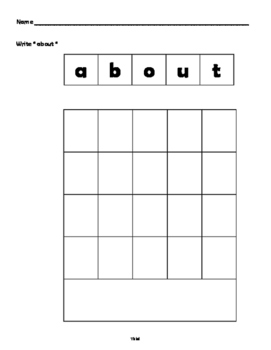 ASD adapted third grade Dolch Site words