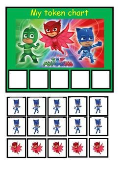 ASD token board/rewards chart: PJ Masks theme