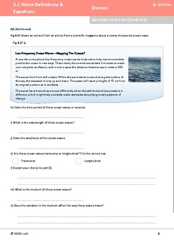 ASESK GCSE Physics Resource 4.1: Wave Definitions and Equations
