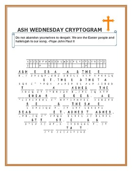 ASH WEDNESDAY CRYPTOGRAM: CELEBRATE THE LENTEN SEASON