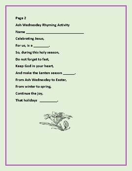ASH WEDNESDAY RHYMING ACTIVITY