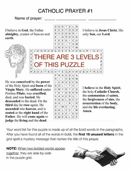 Apostle's Creed Word Search Puzzles - Hidden Message - 3 Levels BIBLE Christian
