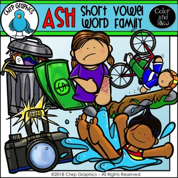 ASH Word Family Clip Art Set - Chirp Graphics