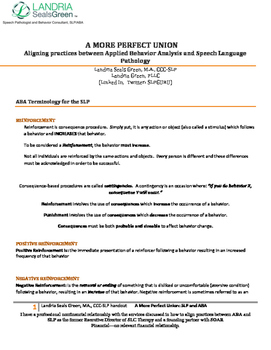 "ASHA 2014 Handout ""A More Perfect Union: Aligning Practices Between ABA and SLP"""