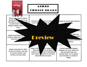 ASHES Choice Board Tic Tac Toe Novel Study Activities Assessment Project