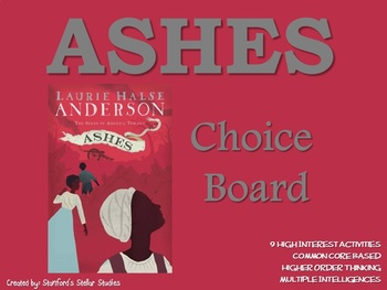 ASHES Choice Board Tic Tac Toe Novel Study Activities Asse