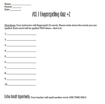 ASL 1 Fingerspelling Quizzes Bundle