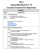 ASL 2 Curriculum Framework for High School: Signing Naturally Units 7-12
