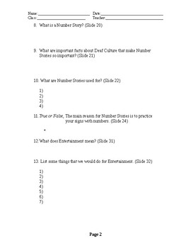 ASL ABC and Number Stories Student Worksheet
