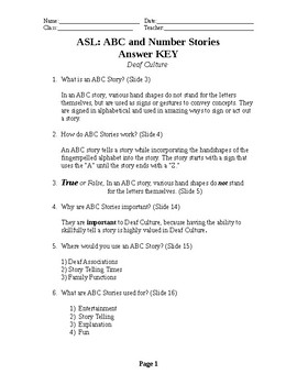 ASL ABC and Number Stories Student Worksheet Key