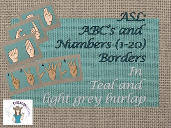 ASL ABC's and Number Wall with teal and brown burlap