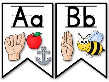 ASL Alphabet Banner - Full Color