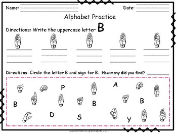 ASL Alphabet & Letter Identification and Writing Practice