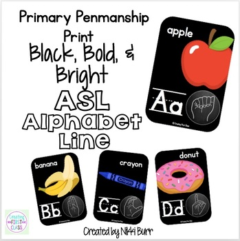 ASL Alphabet Line Primary Print: Black, Bright, and Modern!