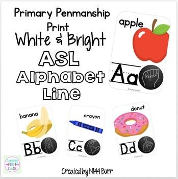ASL Alphabet Line Primary Print: White, Bright and Modern!