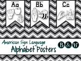 ASL Alphabet Poster Banner B&W