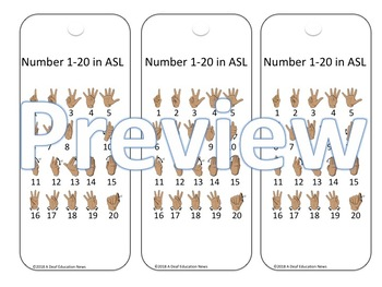 ASL Alphabet and Number 1-20 bookmark