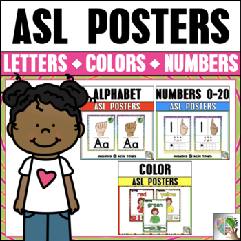 ASL American Sign Language Alphabet, Number, and Color Poster Bundle