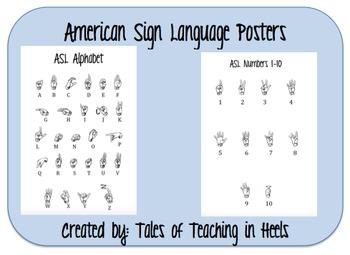ASL Alphabet and Numbers 1-10 Posters