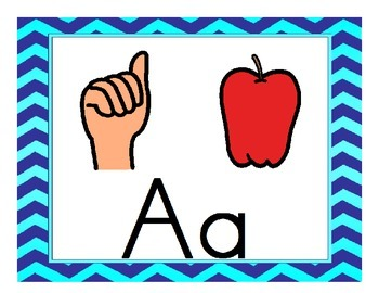 ASL Chevron Alphabet ( Sign Language) with pictures