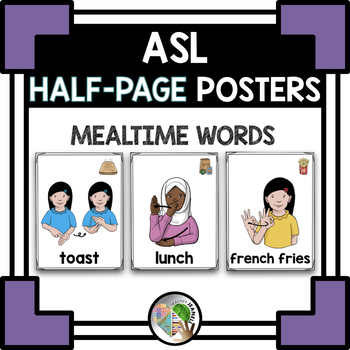 ASL American Sign Language Mealtime Half-Page Posters