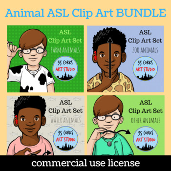 ASL American Sign Language Clip Art Set - All My Animals (Commercial)