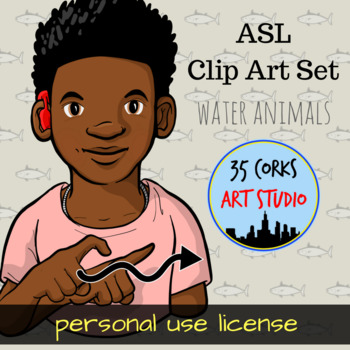 ASL American Sign Language Clip Art Set - Water Animals (Personal Use License)