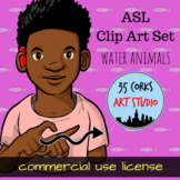ASL American Sign Language Clip Art Set - Water Animals (Commercial Use License)