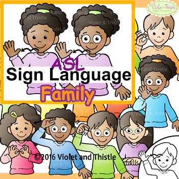 ASL American Sign Language Kids signing Family Words Clipa