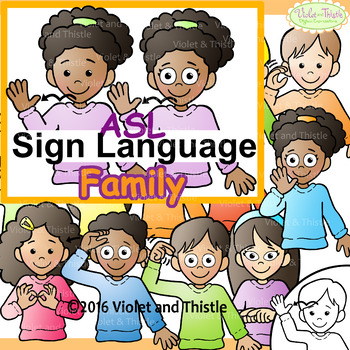 ASL American Sign Language Kids signing Family Words Clipart Clip Art