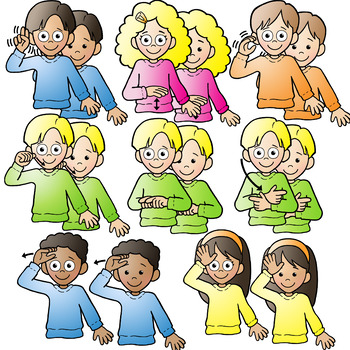 asl american sign language kids signing family words clipart clip art rh teacherspayteachers com extended family picture clipart happy family picture clipart