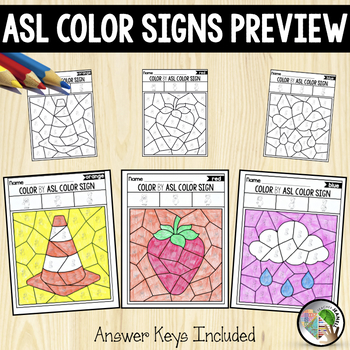 ASL American Sign Language Color by ASL Color Signs