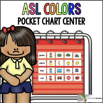 ASL American Sign Language Colors Pocket Chart Center