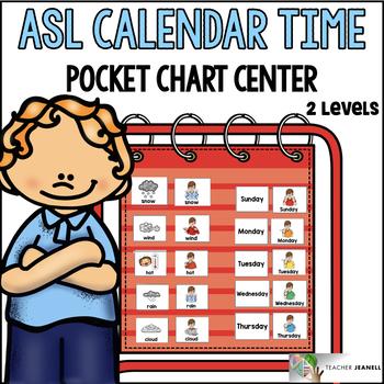 ASL American Sign Language Calendar Time Pocket Chart Center