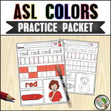 ASL American Sign Language Colors Practice Packet