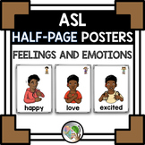ASL American Sign Language Feelings and Emotions Half-Page