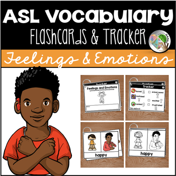 ASL American Sign Language Flashcards & Tracker -  Feelings and Emotions