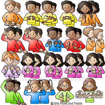 ASL American Sign Language Kids Clothes Clothing Signs Clipart