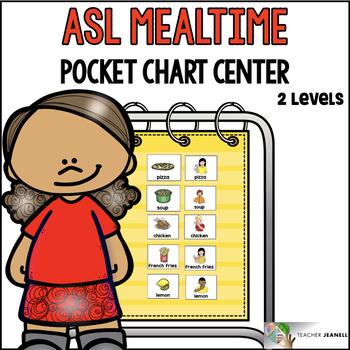 ASL American Sign Language Mealtime Pocket Chart Center