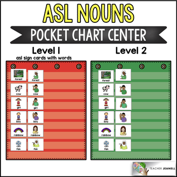 ASL American Sign Language Nouns Pocket Chart Center