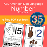 ASL American Sign Language Number Posters 1-20 - FREE!