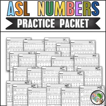 ASL American Sign Language Number Practice Packet 0-20