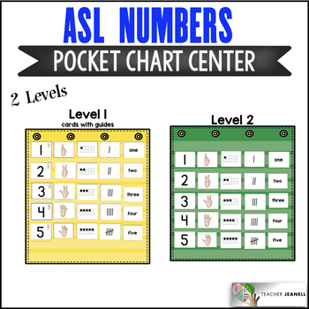 ASL American Sign Language Numbers Pocket Chart Center